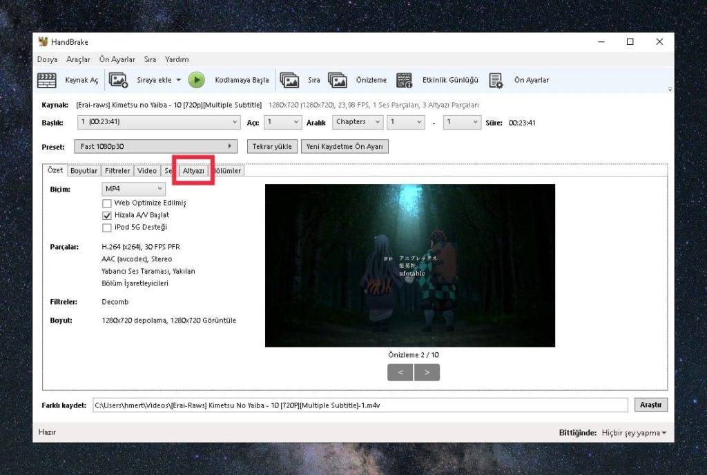 Thinpo - HandBrake Filme Altyazı Ekleme Programı